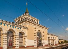 KOVEL, UKRAINE: Railway station of Kovel. KOVEL, UKRAINE - 5 JULY, 2018: The building of Kovel railway station Royalty Free Stock Photography