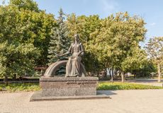 KOVEL, UKRAINE : Monument to Lesya Ukrainka. KOVEL, UKRAINE - 5 JULE, 2018: Monument to Lesya Ukrainka near the square in Kovel, Ukraine stock photo