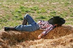 kowboj śpi obraz stock
