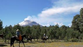 Kowboj na horseback podróżowaniu w powulkanicznym lesie zdjęcie wideo