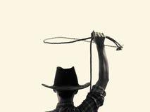 Kowboj rzuca lasso b/w fotografia royalty free