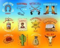Kowboj ustalone odznaki Dziki zachód, rodeo lub hindusi z lasso, kapelusz i pistolet, szeryf gwiazda, but z podkową grawerująca r ilustracji