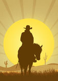 Kowboj w pustyni Fotografia Stock