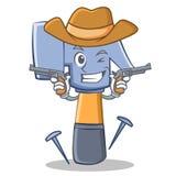 Kowboja charakteru kreskówki młoteczkowy emoticon ilustracji