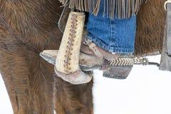 Kowboje Gromadzi się konie W śniegu Zdjęcia Royalty Free