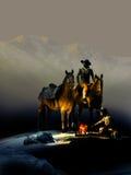 Kowboje i ogień Zdjęcia Royalty Free