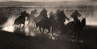 Kowboje na koniach Obrazy Royalty Free