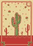 Kowbojscy boże narodzenia plakatowi z kaktusem i arkaną Obraz Royalty Free