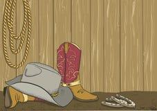 Kowbojscy buty i kapelusz. Wektor Obrazy Stock
