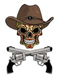 Kowbojska czaszka w zachodnim kapeluszu i para krzyżujący pistolety royalty ilustracja
