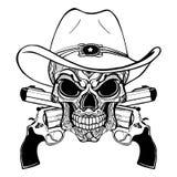 Kowbojska czaszka w zachodnim kapeluszu i para krzyżujący pistolety ilustracji