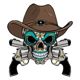 Kowbojska czaszka w zachodnim kapeluszu i para krzyżujący pistolety ilustracja wektor