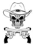 Kowbojska czaszka w zachodnim kapeluszu i para krzyżujący pistolety zdjęcia stock