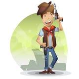 Kowbojska wektorowa kreskówka z oddzielonymi warstwami dla gry i animaci ilustracji