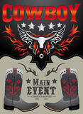 Kowbojski główny wydarzenie plakata wektor Obraz Stock