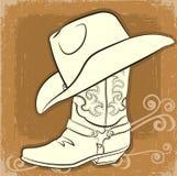 Kowbojski but i kapelusz. Wektorowy rocznika wizerunek ilustracji