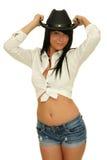 Kowbojski kapelusz dziewczyna Obrazy Royalty Free