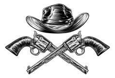 Kowbojski Kapelusz i Krzyżujący pistolety ilustracja wektor