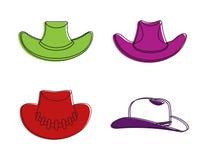 Kowbojski kapelusz ikony set, koloru konturu styl Obrazy Stock