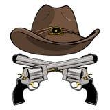 Kowbojski kapelusz z parą krzyżujący pistolety ilustracji