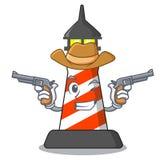 Kowbojski latarnia morska charakteru kreskówki styl ilustracja wektor