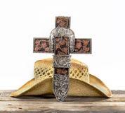 Kowbojski modlitwa krzyż fotografia royalty free