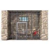 Kowbojski więzień śpi w cela więziennej ilustracji