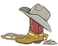 Kowbojski but z zachodnim kapeluszem odizolowywającym na bielu Zdjęcie Stock