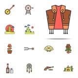 kowbojskiego kostiumu barwiona ikona Dziki Zachodni ikony ogólnoludzki ustawiający dla sieci i wiszącej ozdoby ilustracji