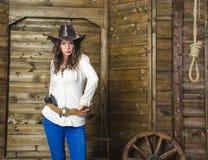 kowbojskiej dziewczyny kapeluszowy portreta studio Zdjęcie Royalty Free