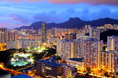Kowloon area in Hong Kong at night Royalty Free Stock Image