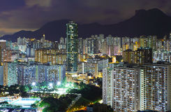 Kowloon area in Hong Kong at night Stock Images