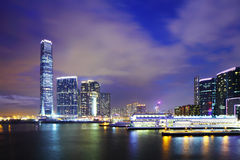 Kowloon district at night Stock Photos