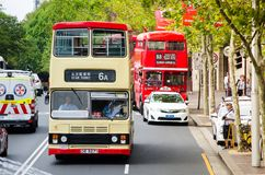 The Kowloon double-decker Vintage bus service running in Sydney. It`s a special service only on Australia day. SYDNEY, AUSTRALIA – On January 26, 2018 stock photos