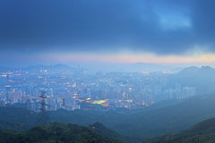 Kowloon downtown in Hong Kong under storm Stock Photography