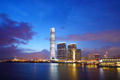 Kowloon downtown at night. Kowloon downtown cityscape at night Royalty Free Stock Photo