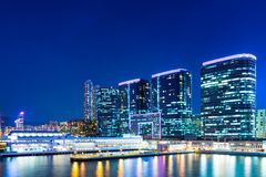 Kowloon downtown at night Stock Photography