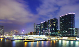 Kowloon downtown at night Stock Images