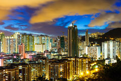 Kowloon downtown at night Royalty Free Stock Images