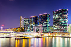 Kowloon downtown at night Stock Photos