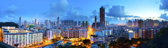 Kowloon downtown night view in Hong Kong Stock Photography