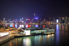 Kowloon Ferry Pier at Night Stock Photos