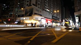 KOWLOON, HONG KONG-FEBRUARY 19, 2018 – Busy intersection at Ya. U Ma Tei on Nathan Road. Wide range of public transport is ideal for locals and visitors Royalty Free Stock Photo