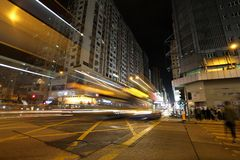 KOWLOON, HONG KONG-FEBRUARY 19, 2018 – Busy intersection at Ya. U Ma Tei on Nathan Road. Wide range of public transport is ideal for locals and visitors Royalty Free Stock Image