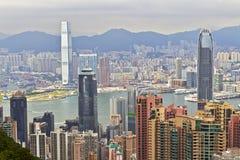 Kowloon, Hong Kong, fron visto o pico Imagem de Stock Royalty Free