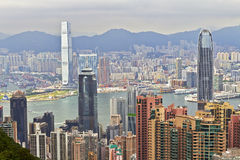Kowloon, Hong Kong, fron vu la crête Image libre de droits