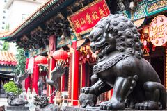 Kowloon Hong Kong - JULI 7 th 2017: Wong Tai Sin Temple Arkivfoto
