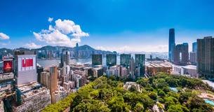 City view of Kowloon peninsula and Hong Kong island at hot afternoon Royalty Free Stock Photos