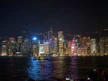 Large groups of people gather at the pier of Kownloon to admire the spectacle A Symphony. Kowloon, Hong Kong - November 02, 2017: Large groups of people gather royalty free stock photography