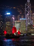 Hong Kong skyline at evening with a junk boat in the foreground. Kowloon, Hong Kong - November 2, 2017: Hong Kong skyline at evening with a junk boat in the royalty free stock images